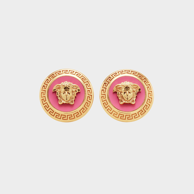 VERSACE Earrings Enamel Medusa Pink Small