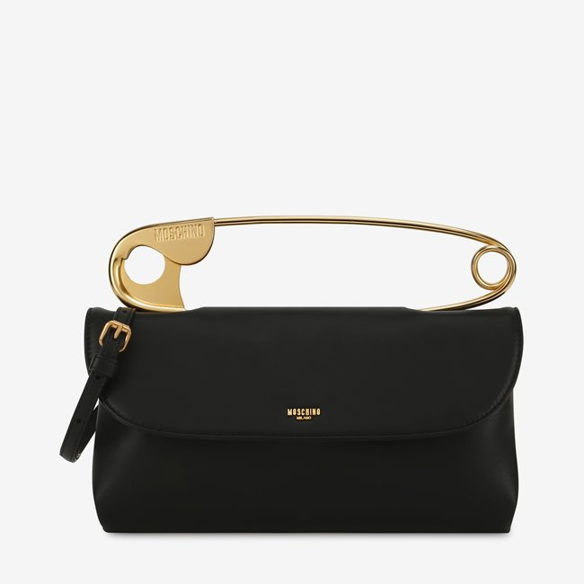 MOSCHINO Leather Bag Oversized Babypin Black