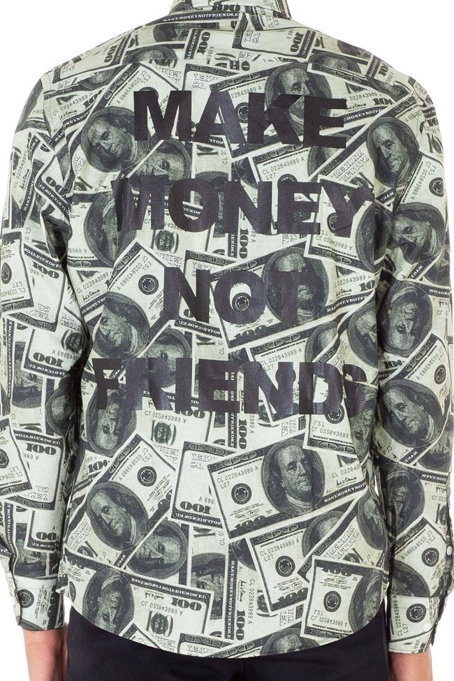Make Money Button Shirt Dollar Print MA171129