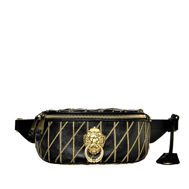 MOSCHINO Bum Bag Lion Head Black Leather