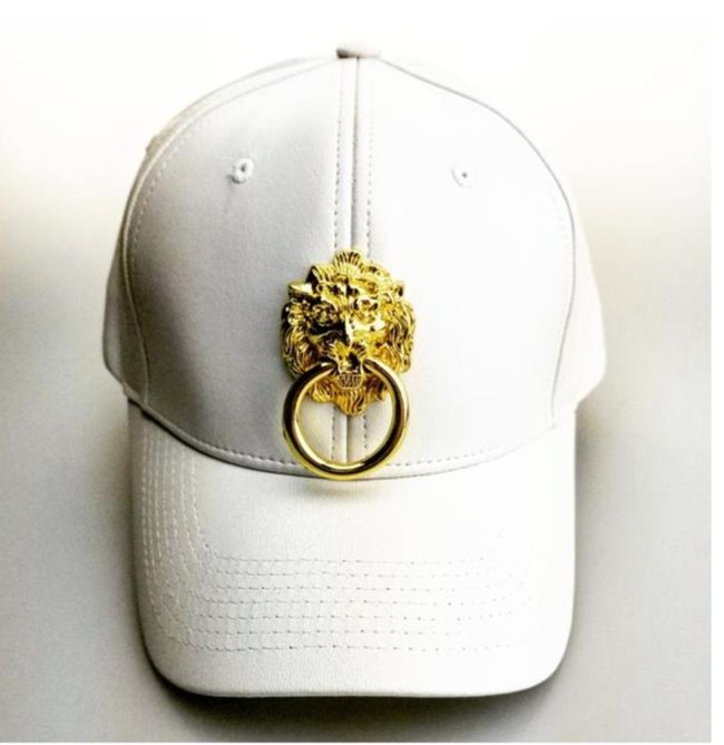 Eye Hunee Cap FauxLeather Curved Bill White