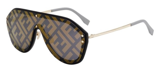 FENDI FF Logo Sunglasses M0039/G/S 2M2 Black Gold