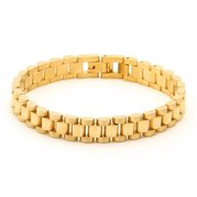 "KING ICE Bracelet 14k Gold Plated BRX10275-8"" Rolex Link"