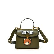 MOSCHINO Leather Shoulder Bag Bear On Clip Green