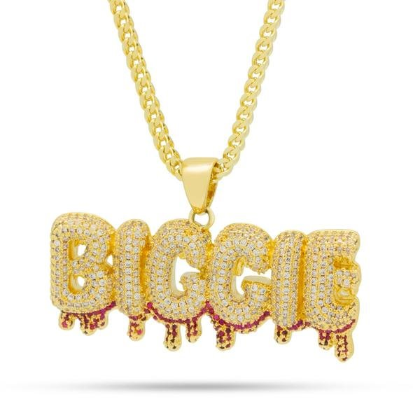 King Ice NKX14046 14k Gold Plated Biggie Drip Necklace