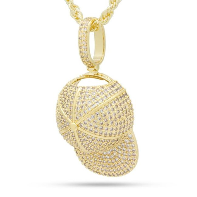 King Ice NKX14209 14k Gold Plated Baseball Hat Necklace