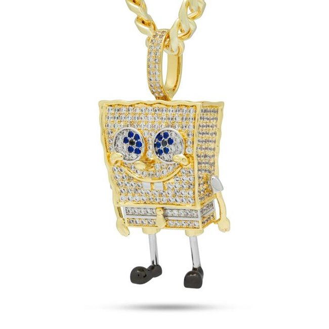 King Ice NKX13172-XL 14k Gold Plated XL Spongebob Necklace