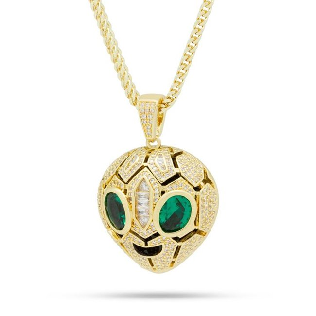 King Ice NKX14030 14k Gold Plated Serpent Alien Emoji Necklace