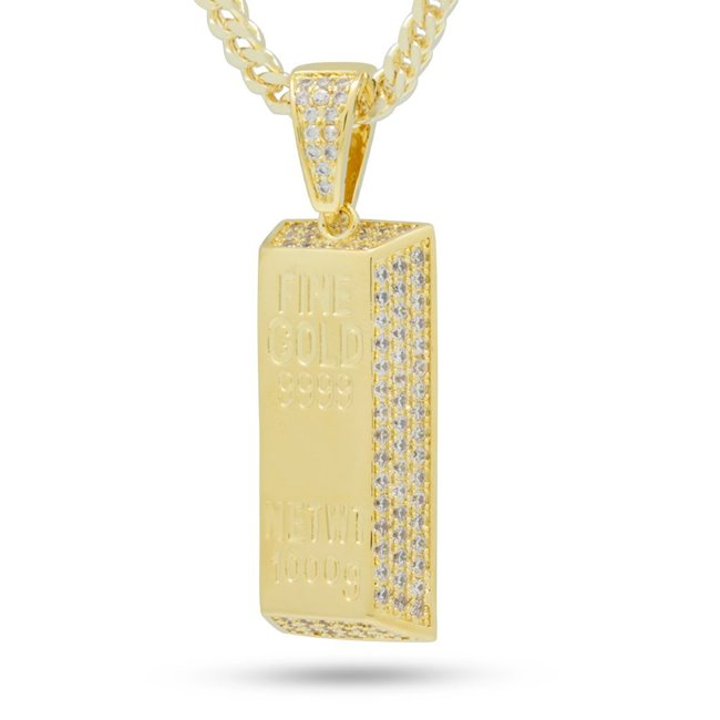 King Ice NKX13097 14k Gold Plated Gold Bar Necklace