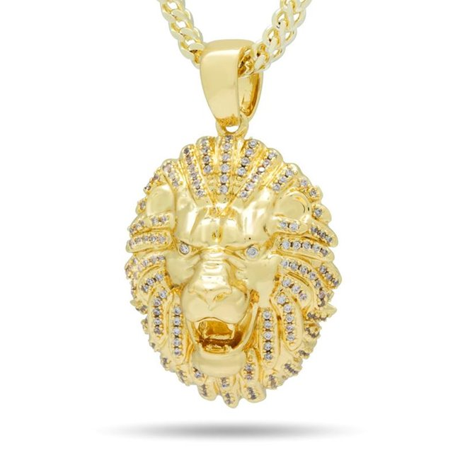 King Ice NKX14075 14k Gold Palted Gold Lion Head Necklace