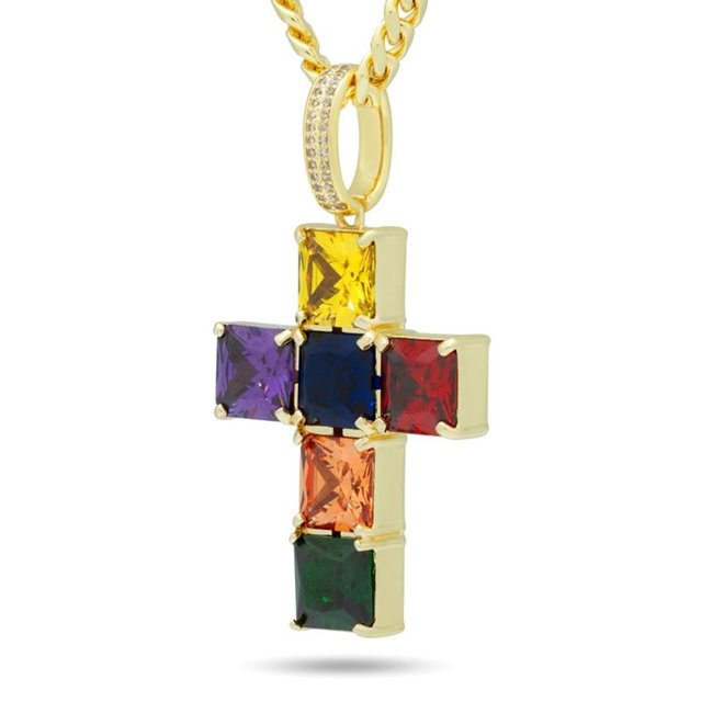 King Ice NKX14192 14k Gold Plated Spectrum Cross Necklace