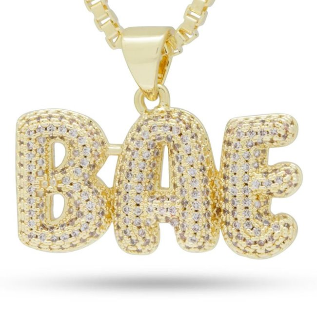 King Ice NKX13252 14k Gold Plated Bae Necklace