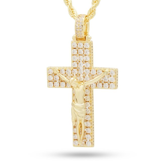 King Ice NKX14106 14k Gold Plated Biggie Crucifix Necklace