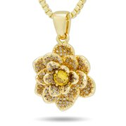 King Ice NKX14026 14k Gold Plated Lotus Flower Necklace