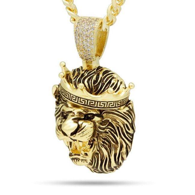 King Ice NKX14162 Antique Gold Roaring Lion Necklace Small