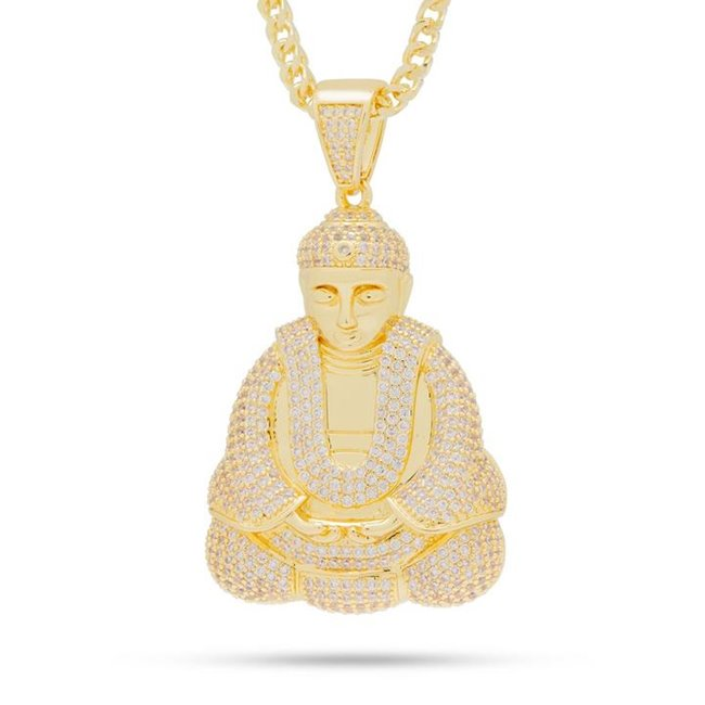 King Ice NKX13023 14k Gold Plated Buddha Tranquility Necklace