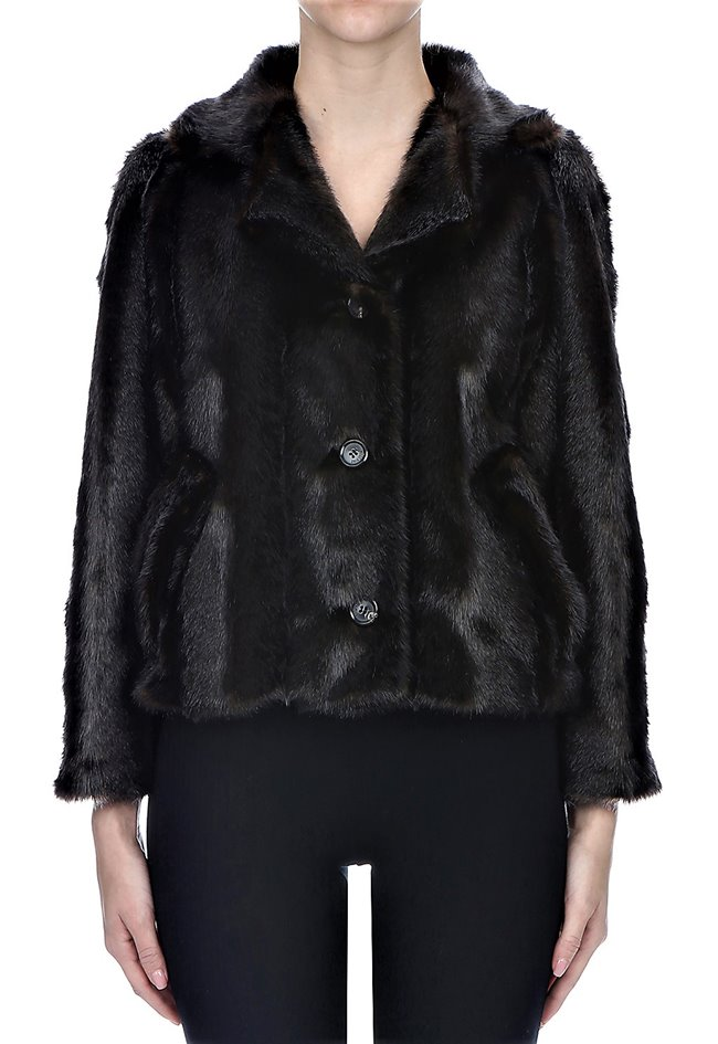 MOSCHINO Faux Fur Short Jacket Brown