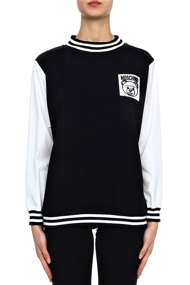 MOSCHINO Sweater Rubber Patch  Black White