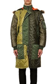 MOSCHINO Long Parka with Faux Fur Green