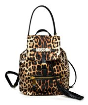 Moschino Fabric Leopard Bucket Backpack