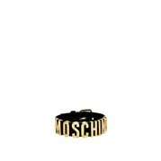 MOSCHINO Leather Gold Crystal Logo Adjustable Choker Black