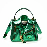 MOSCHINO Leather Bikerbag w/ Handle Metallic Green