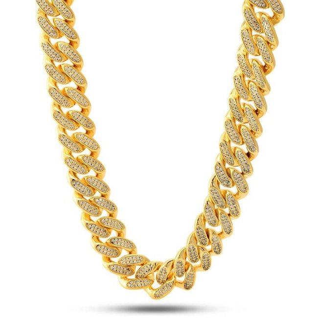 King Ice 14k Gold Plated 18mm Miami Cuban Curb Chain CHX11381 20""