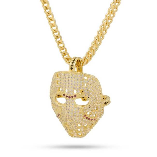 KING ICE 14K Gold Plated Hockey Mask Necklace Large NKX11684L