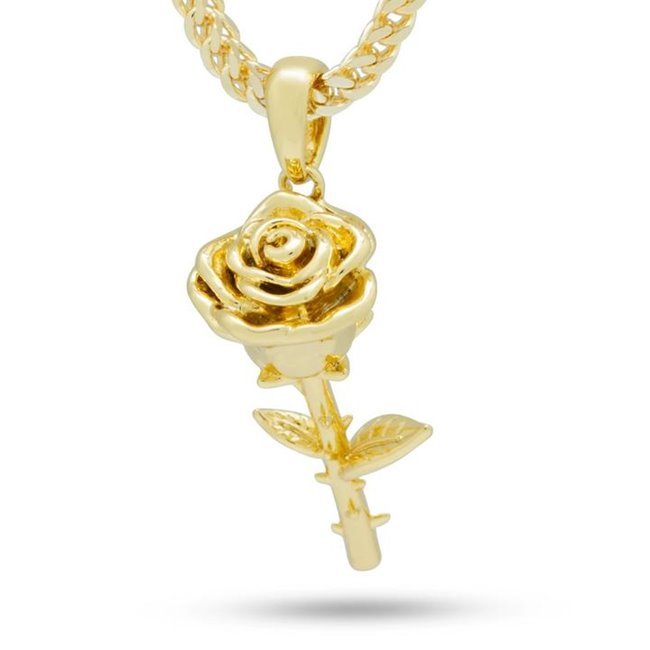 KING ICE 14K GOLD PLATED ROSE NECKLACE NKX13253