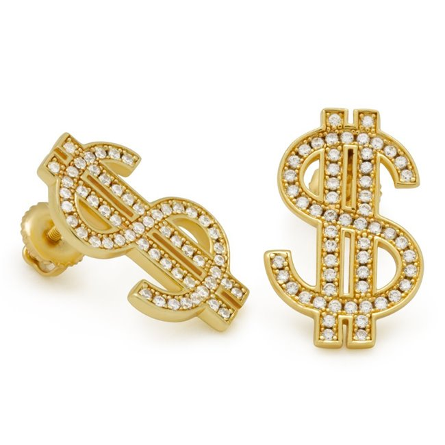 King Ice 14k Gold Plated Iced Out Money Earrings ERX13351