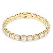 King Ice 14k Gold Plated Princess Cut Bracelet 5mm BRX14033